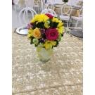 Centro de mesa  en  cristal  rosas amarillas