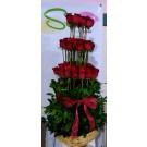 60 rosas  en canasta