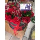 Caja redonda con 25 rosas rojas