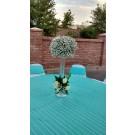 Centro de  mesa alto  con  gypsophilia y rosas